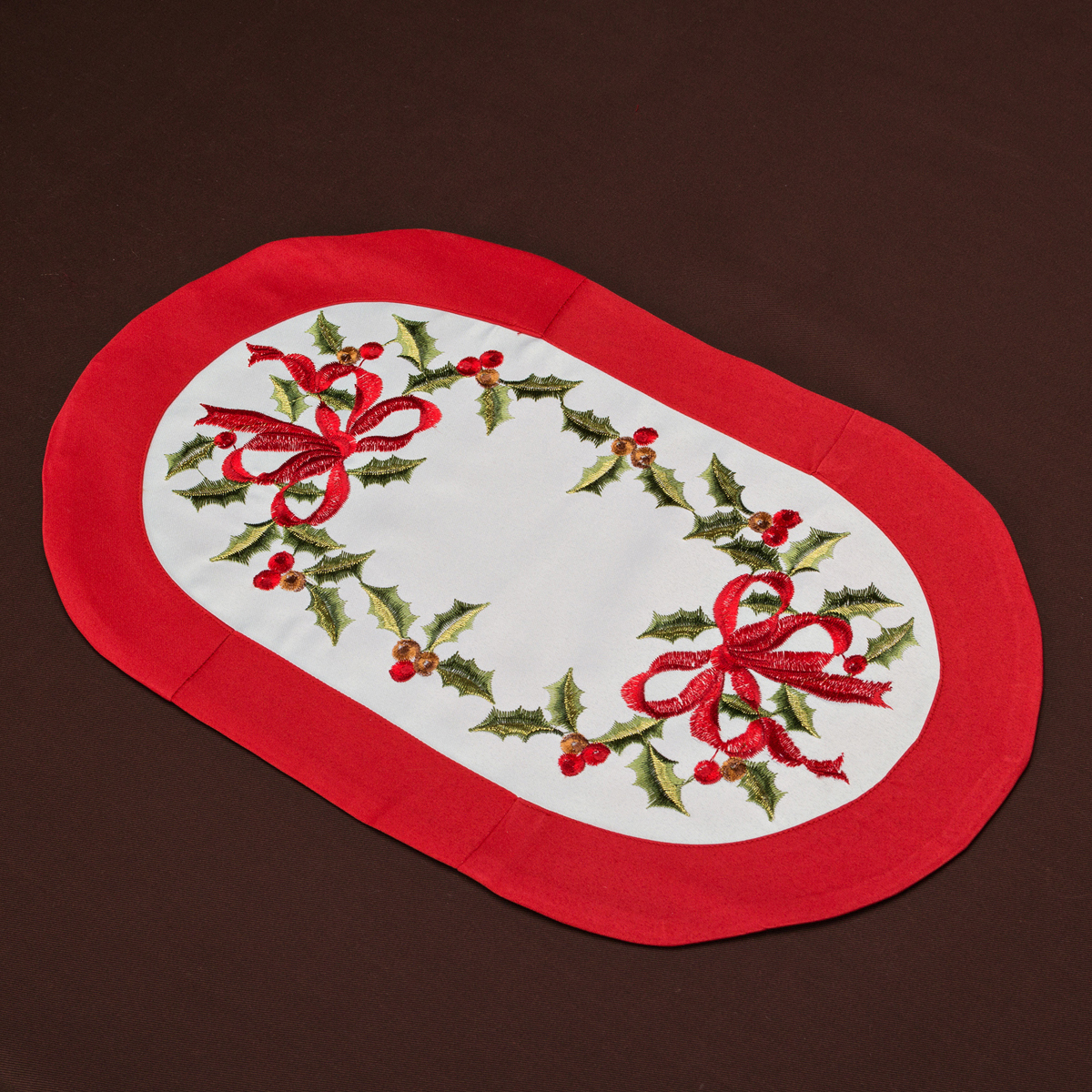 Индивидуальная скатерть Holly Wreath Oval S, 30x45 см, Полиэстер, Santalino, Россия, Holly Wreath