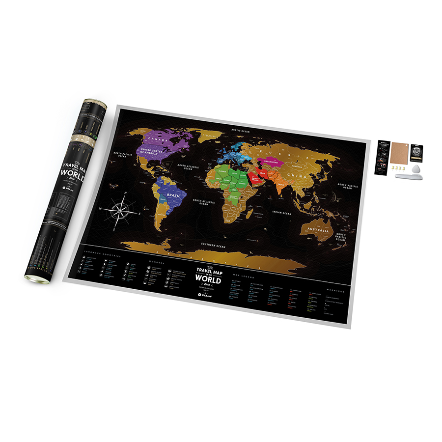 Карта travel map Black world eng, 80x60 см, Пластик, 1DEA.me, Украина