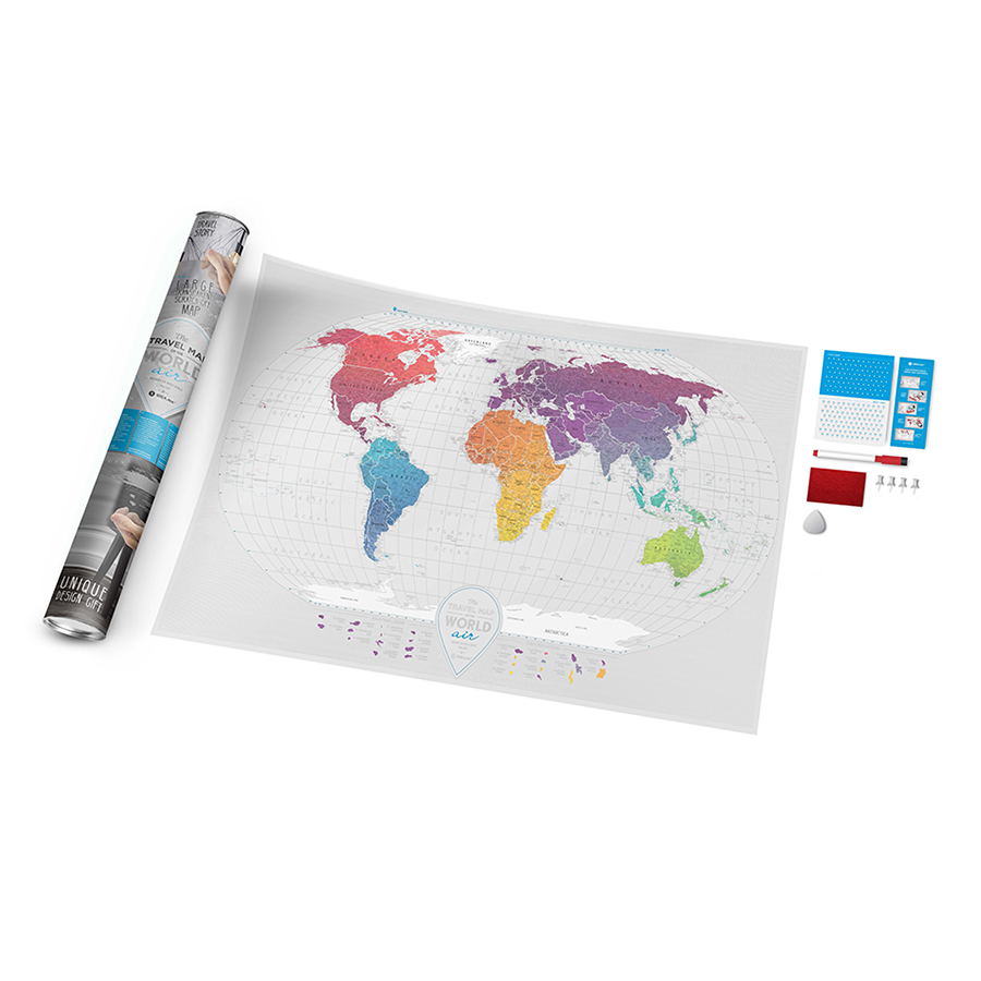 Карта travel map air world, 96x60 см, Пластик, 1DEA.me, Украина