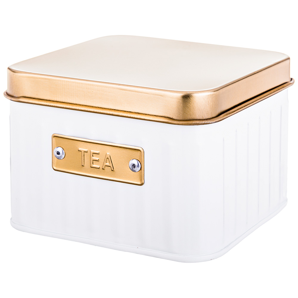 Банка для чая Tea White&Gold, 11х11 см, 7 см, Нерж. сталь, Agness, Китай