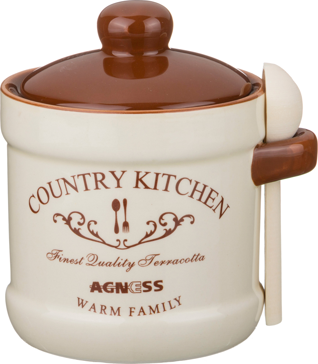 Баночка Country kitchen, 12 см, 10 см, 350 мл, Керамика, Agness, Германия, Country kitchen