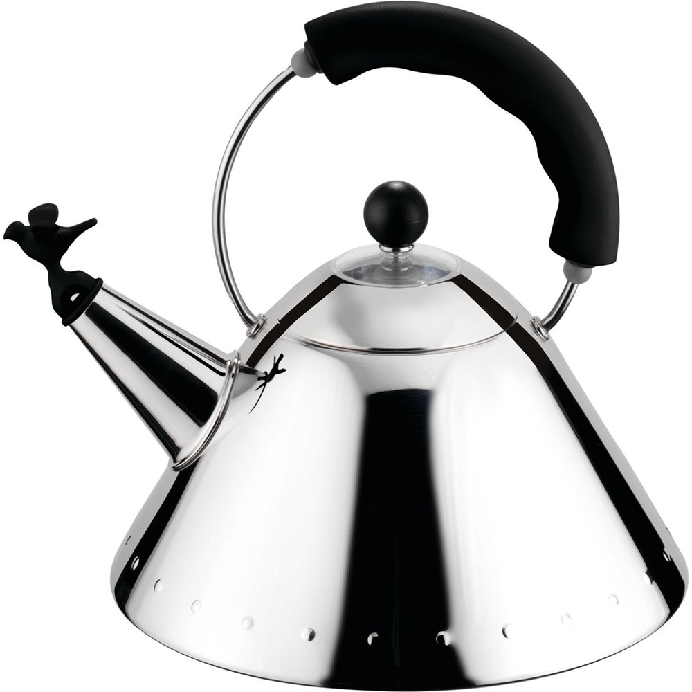 Чайник со свистком Singing Bird black, 22 см, 23 см, Нерж. сталь, Италия, Alessi
