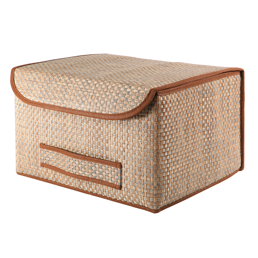 Коробка для хранения с крышкой Box XL brown, 35x30 см, 22 см, Полиэстер, Casy Home, Россия, Wicker