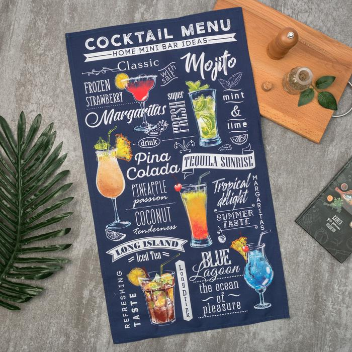 Полотенце кухонное Cocktail menu, 40х70 см, Хлопок, Россия