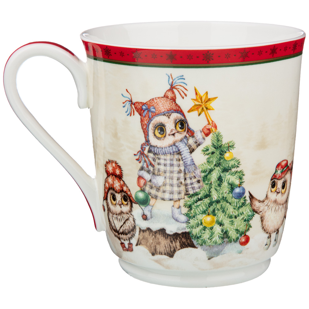 Кружка Happy New Year Owl, 9 см, 10 см, 340 мл, Фарфор, Lefard, Китай, 1 персона, Happy New Year, Merry Christmas