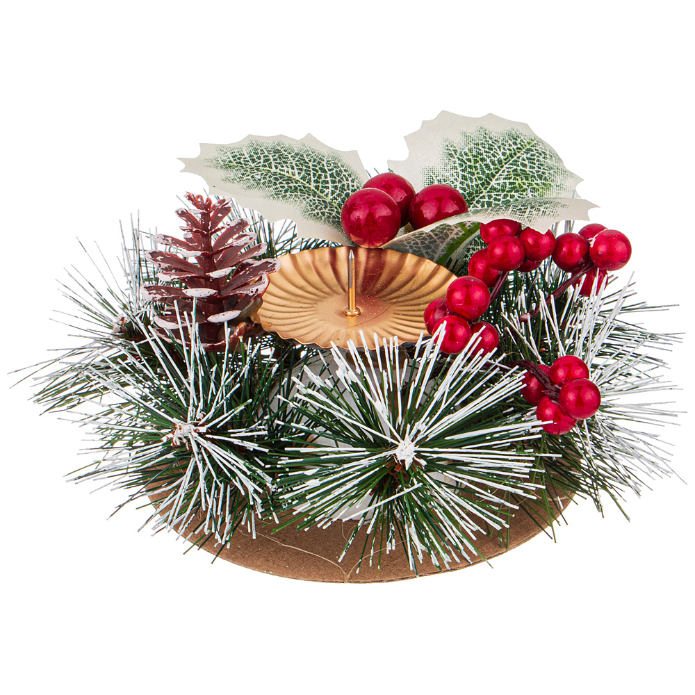 Подсвечник Wreath New Year's branch 15, 15  см, 8 см, Пластик, Lefard, Китай