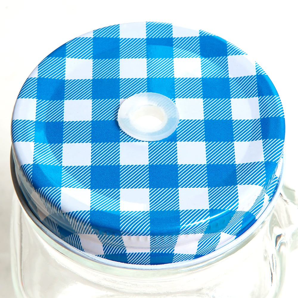 Крышка для банки Light Blue Check, 7,5 см, Металл, Mason Jar, США