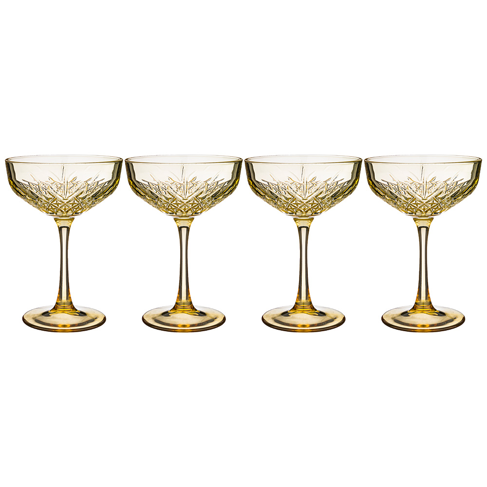 Набор бокалов-блюдец Timeless Gold, 4 шт., 260 мл, 11 см, 16 см, Стекло, Pasabahce, Россия, Timeless glass